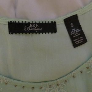 BKE Tops - NEW BKE Boutique Mint Green Embroidered Tank Top S